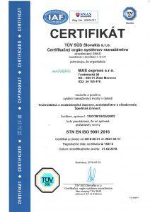 Certifikát TÜV STN EN ISO 9001:2009 v slovenskom jazyku