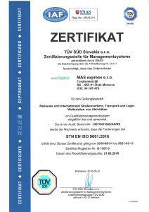 Certifikát TÜV STN EN ISO 9001:2009 v nemeckom jazyku