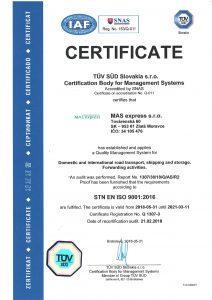 Certifikát TÜV STN EN ISO 9001:2009 v anglickom jazyku mas express